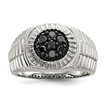 Sterling Silver Mens Black Diamond Polished and Satin Ring