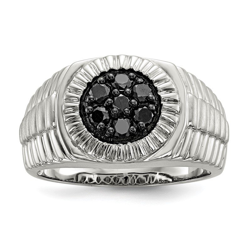 Quality Gold Sterling Silver Mens Black Diamond Polished and Satin Ring