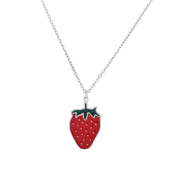 Silver Enamel Strawberry Necklace