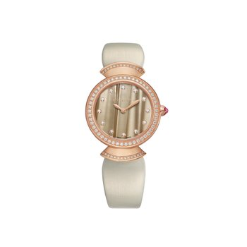 Divina watch, 30 mm rose gold case with diamonds. Grey satin strap. Golden brown dial