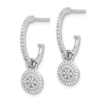 Sterling Silver Rhodium-plated CZ w/Removable Dangle J-Hoop Earrings
