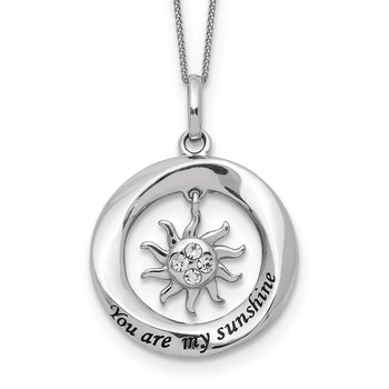 Sterling Silver Enamel YOU ARE MY SUNSHINE Crystal Sun Necklace