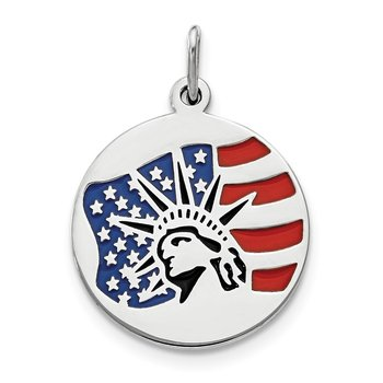 Sterling Silver Polished Enameled Statue of Liberty w/Flag Charm