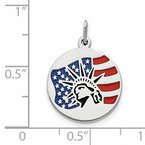 Fine Jewelry by JBD Sterling Silver Polished Enameled Statue of Liberty w/Flag Charm