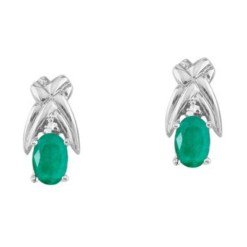 14k White Gold 6x4mm Oval Emerald and Diamond Stud Earrings