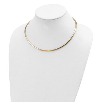 14k 3mm Reversible White & Yellow Domed Omega Necklace