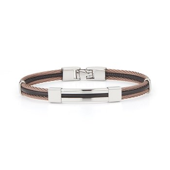 Bronze Cable & Black Leather Bracelet with Steel Station