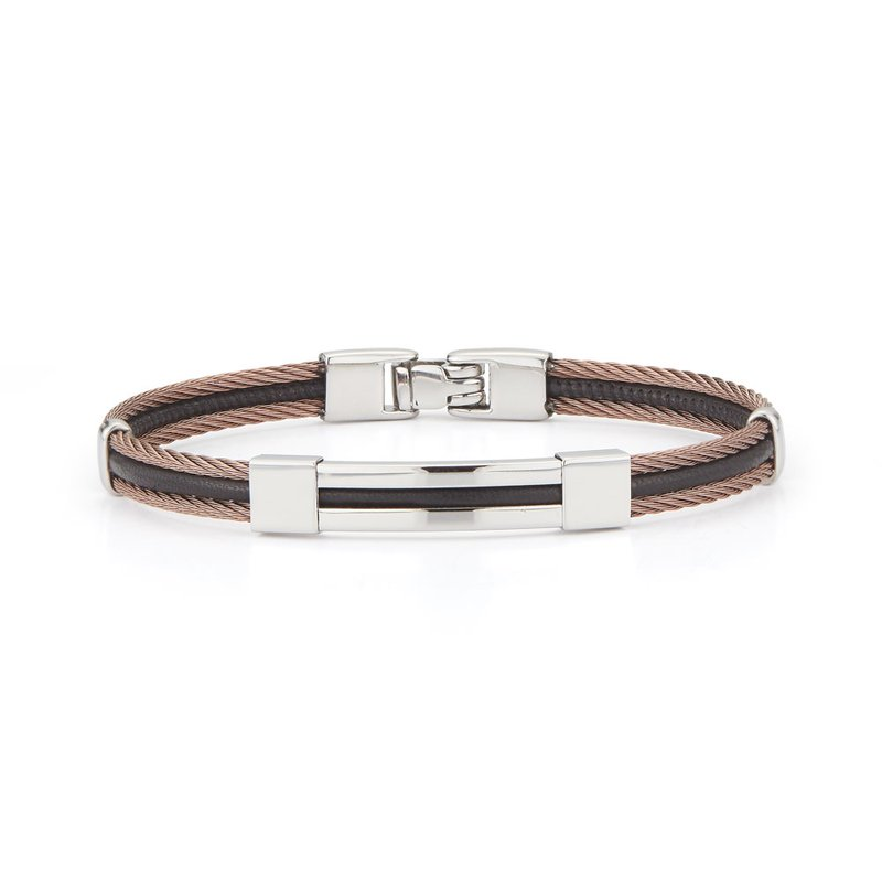 ALOR Catalog Bronze Cable & Black Leather Bracelet with Steel Station