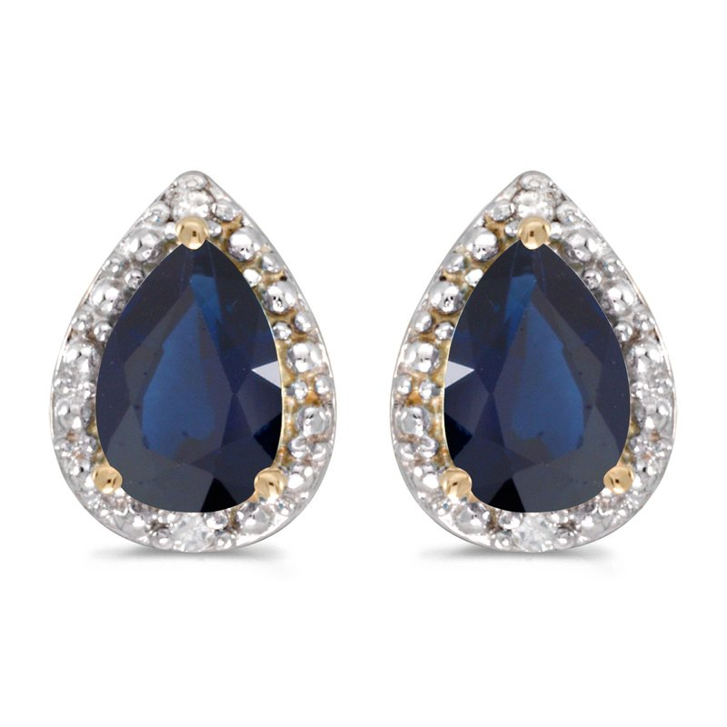 Color Merchants 10k Yellow Gold Pear Sapphire And Diamond Earrings