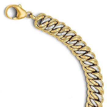 Leslie's 14K Gold Rhodium-plated Fancy Link Bracelet