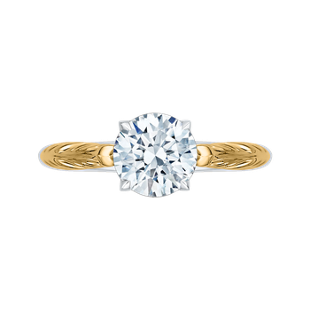 Round Cut Solitaire Diamond Vintage Engagement Ring In 18K Two-Tone Gold (Semi-Mount)