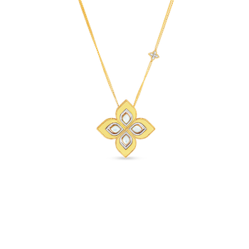 18K LARGE MOTHER-OF-PEARL  & DIAMOND FLOWER PENDANT