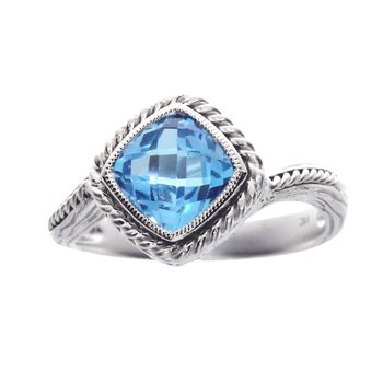 14k White Gold Blue Topaz Braided Ring