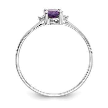 10k White Gold Polished Geniune Diamond & Amethyst Birthstone Ring