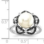 Quality Gold Sterling Silver Majestik Rh-pl 10-11mm Imitat Shell Pearl Blk & Wht CZ Ring