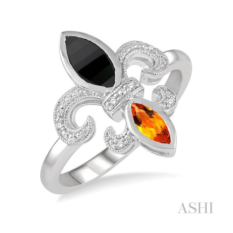 ASHI silver fleur de lis gemstone & diamond ring