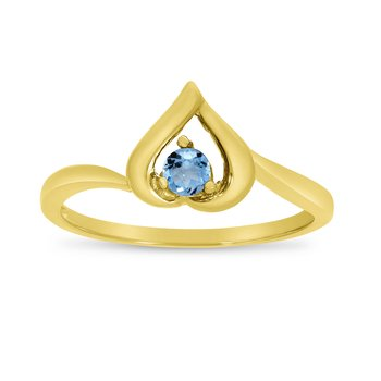 14k Yellow Gold Round Blue Topaz Heart Ring