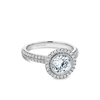 Bezel Set Halo Engagement Ring