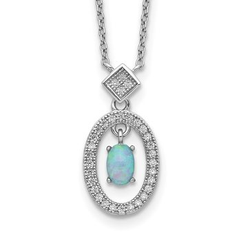 Sterling Silver Rhod-platd Created Opal and CZ w/ 2in ext. Necklace