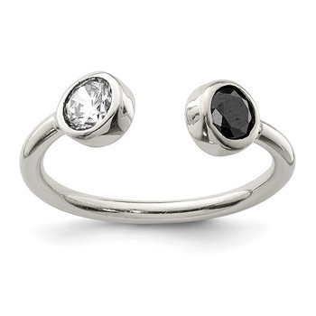 Sterling Silver Polished White and Black CZ Adjustable Ring