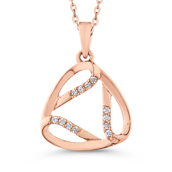 White Diamond Triangle Shape Fashion Pendant with Chain