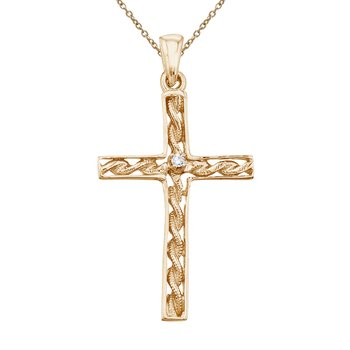 14K Yellow Gold Braided Diamond Cross Pendant