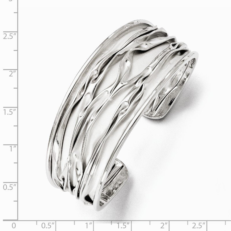 Leslie's Leslie's SS Rhodium-plated Medium Tapered Scrunch Bangle