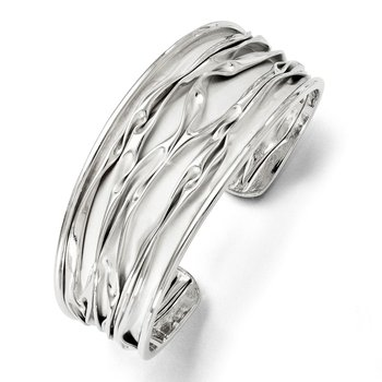 Leslie's SS Rhodium-plated Medium Tapered Scrunch Bangle