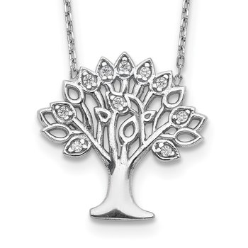 Sterling Silver Rhodium-plated CZ Tree w/ 2in ext. Necklace