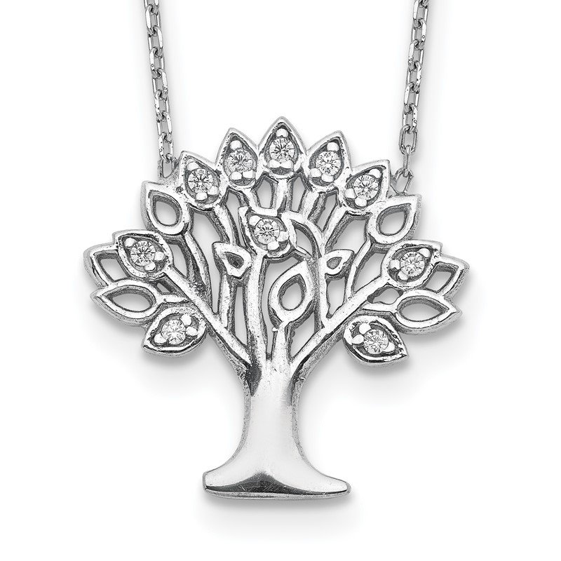 Quality Gold Sterling Silver Rhodium-plated CZ Tree w/ 2in ext. Necklace
