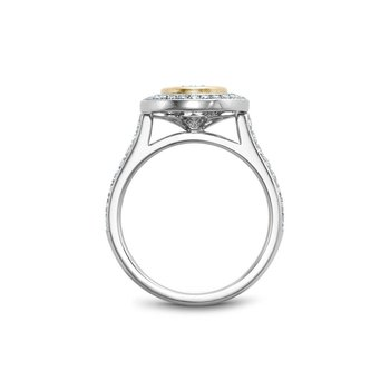 Bezel Set Oval Shaped Halo Engagement Ring
