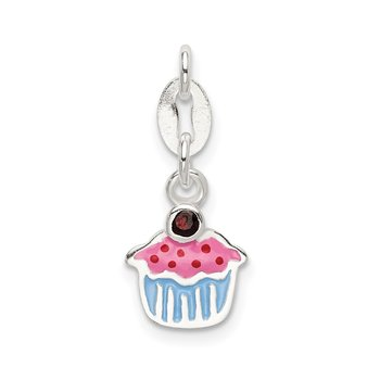 Sterling Silver Polished and Enameled Cupcake w/Garnet Charm