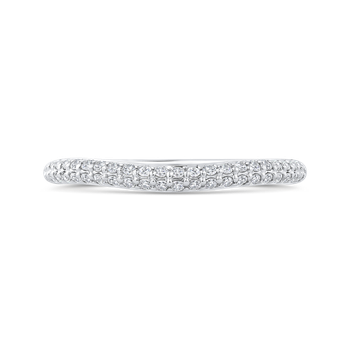 18K White Gold Double Row Round Diamond Wedding Band