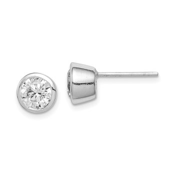 Sterling Silver 6mm CZ Round Bezel Stud Earrings