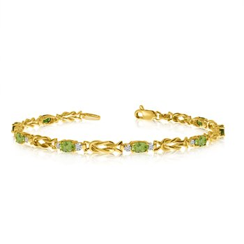 14K Yellow Gold Oval Peridot and Diamond Bracelet