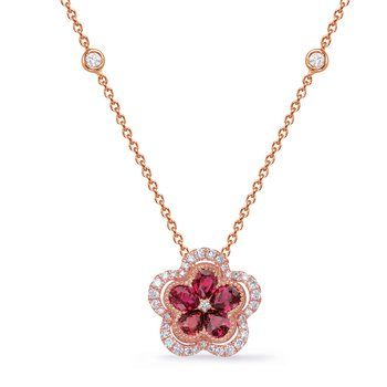 Rose Gold Diamond & Ruby Necklace