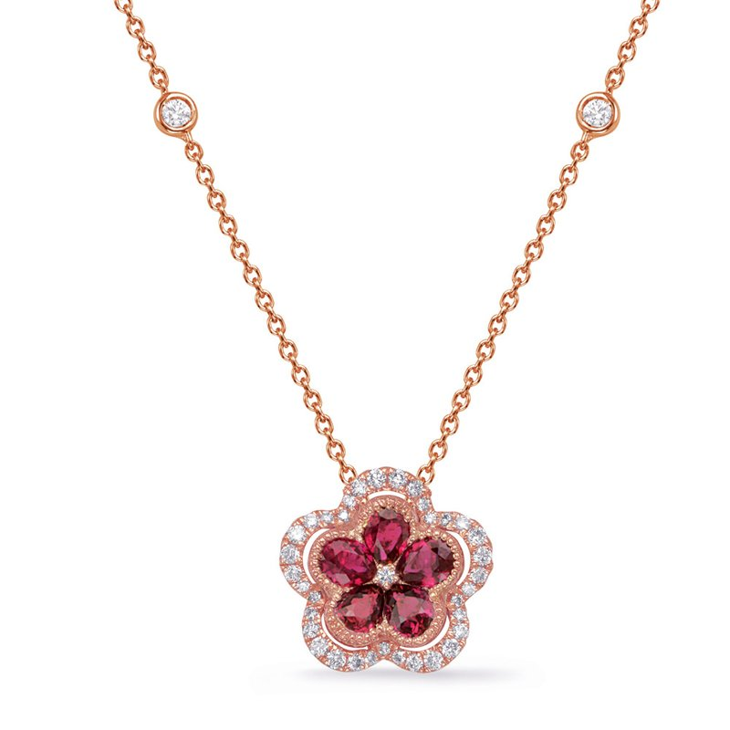 Briana Rose Gold Diamond & Ruby Necklace