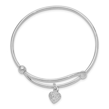 Sterling Silver Rhodium Plated Diamond Cut Heart Baby Bangle