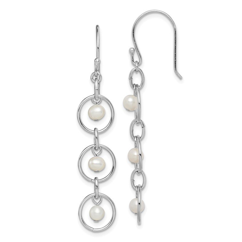 Quality Gold Sterling Silver Rhodium-plated FW Cultured Pearl & Circle Dangle Earrings