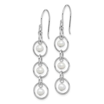 Sterling Silver Rhodium-plated FW Cultured Pearl & Circle Dangle Earrings