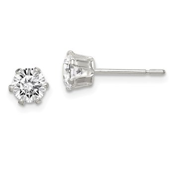 Sterling Silver Polished 5mm CZ Post Earrings
