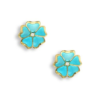 Turquoise Rose Stud Earrings.18K -Diamonds - Plique-a-Jour