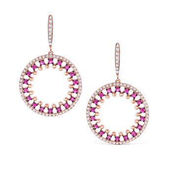 Pink Sapphire & Diamond Round Earrings Set in 14 Kt. Gold