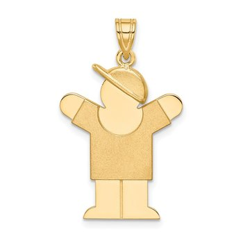 14k Solid Engravable Boy with Hat on Right Charm