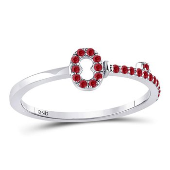 10kt White Gold Womens Round Ruby Key Stackable Band Ring 1/5 Cttw