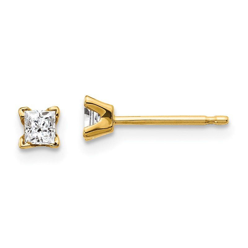 Quality Gold 14k AA Quality Complete Princess-cut Diamond Stud Ear