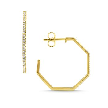 Gold and Diamond Modern Geometric Hoops