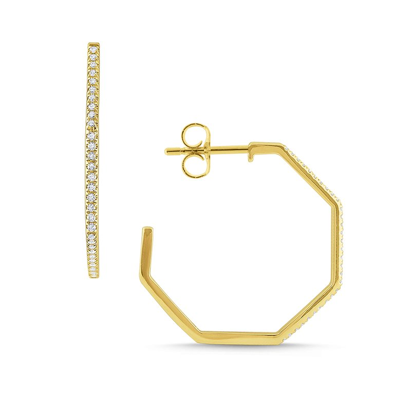 KC Designs Gold and Diamond Modern Geometric Hoops