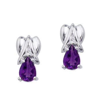 14k White Gold Amethyst and Diamond Pear Shaped Earrings