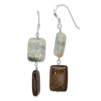 Sterling Silver Sea Agate & Bronzite Earrings